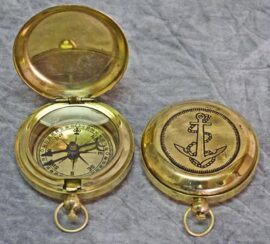 Brass Anchor Pocket Compass
