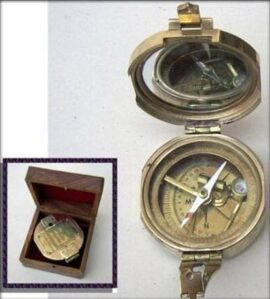 Brass Compass with Wood Box