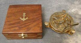 Brass Sundial Compass in Case