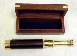 Brass Telescope in Wood Box