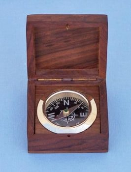Compass Mounted in Wood Box