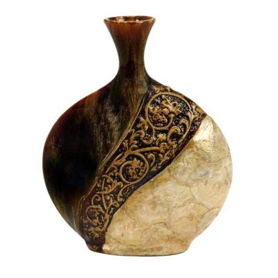 Ceramic and Capiz Shell VASE