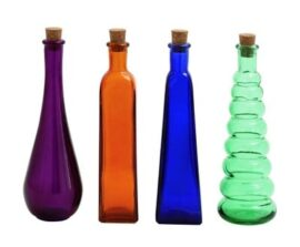 Set of Four Colored Glass Bottles