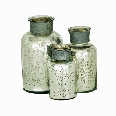 Set of 3 Silver Glass Bottles