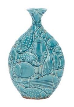 Turquoise Ceramic Fish Vase