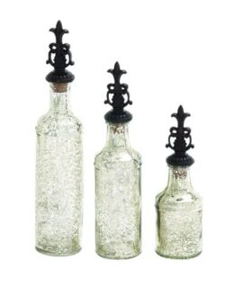 Set of 3 Decorative Glass Bottles