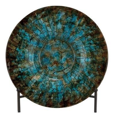 Art Glass Plate With Stand Globe Imports