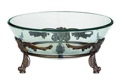 Glass Bowl on Metal Pedestal