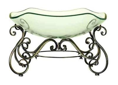 Ornate Glass Bowl and Stand