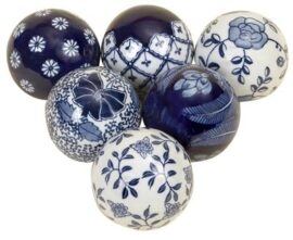 Set of 6 Blue & White China Balls