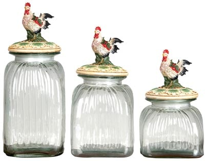 Set of 3 Rooster Canisters