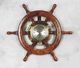 Wooden Ship's Wheel with Brass Porthole Clock