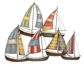 Colorful Metal Sailboats Wall Decor