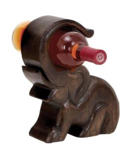 Carved Elephant Wine Holder