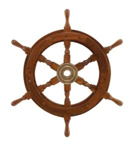 18 Inch Wood and Brass Ship's Wheel