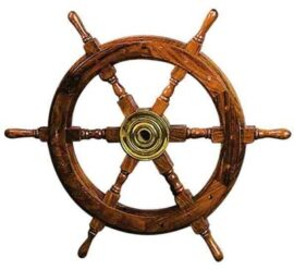 24 Inch Wood and Brass Ship's Wheel