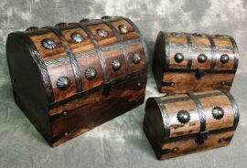 Set of 3 Wooden Pirate Chests