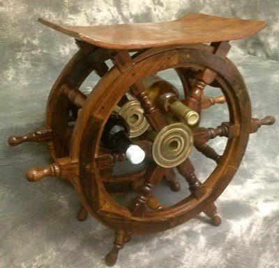 Nautical Ship's Wheel Table and Rack