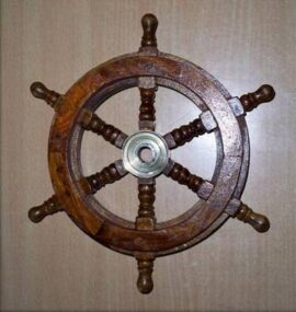 9 Inch Wood and Brass Ship Wheel