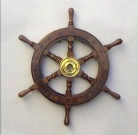 12 Inch Wood and Brass Ship Wheel