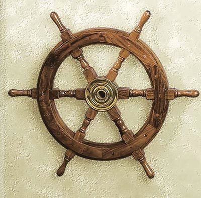 15 Inch Wood and Brass Ship Wheel