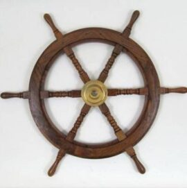 30 Inch Wood and Brass Ship Wheel