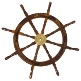 36 Inch Wood and Brass Ship Wheel