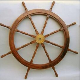 60 Inch Wood and Brass Ship Wheel