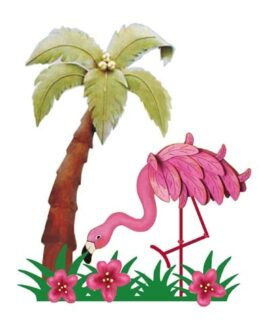 Metal Wall Flamingo with Palm