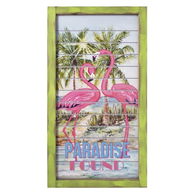 Wood Paradise Found Flamingo Sign