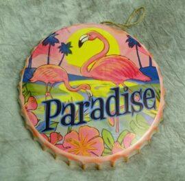Flamingo Paradise Metal Bottle Cap