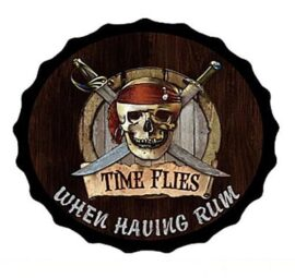 Pirate Time Flies Metal Bottle Cap