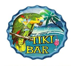 Parrot Tiki Bar Metal Bottle Cap
