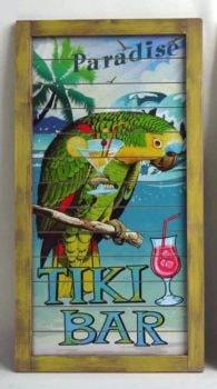 Wood Parrot and Tiki Bar Sign