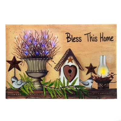 Bless This Home Led Canvas Print Globe Imports