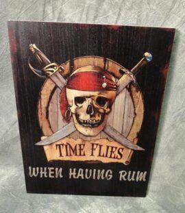 Wood Pirates Time Flies Sign