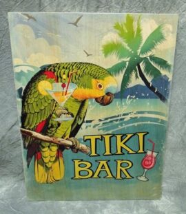Wood Tiki Bar Parrot Sign
