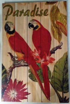 Wooden Decorative Parrots Paradise Sign