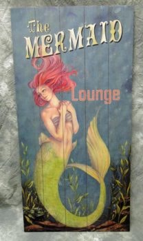 Wooden Mermaid Lounge Sign