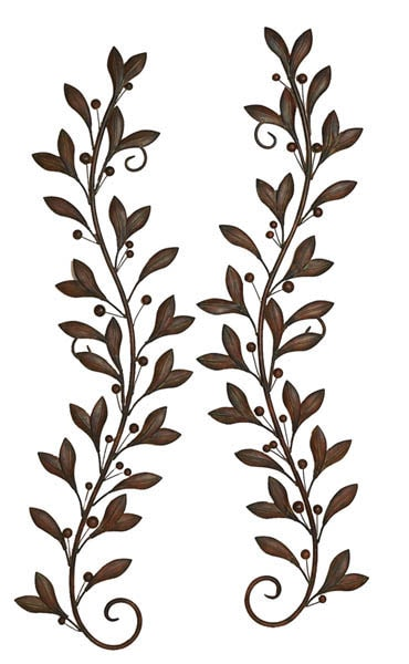 Metal Olive Branch Wall Pair