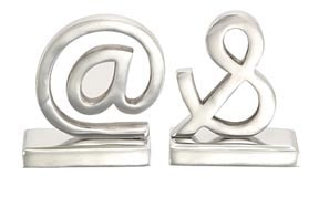 Polished Metal Symbol Bookends
