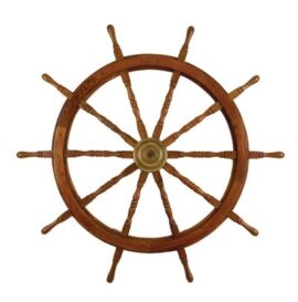 Wood and Brass Ship's Wheel