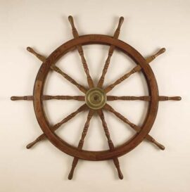 48 Inch Wood and Brass Ship Wheel