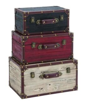 Set of 3 Vintage Style Trunks