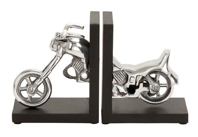 Metal and Wood Motorcycle Bookends