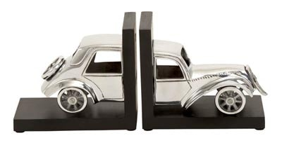 Wood and Metal Car Bookends