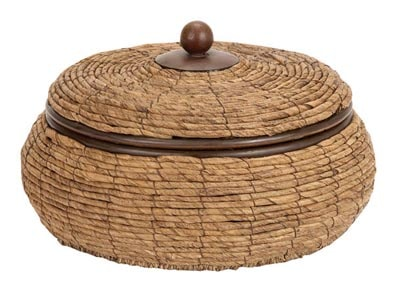 Wicker and Metal Basket with Lid