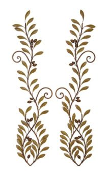 Set of 2 Metal Wall Olive Branches