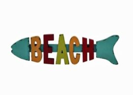 Wooden Fish Shaped Beach Sign