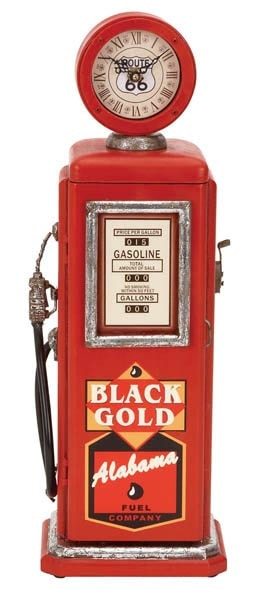 Vintage Gas Pump Cabinet with Clock
